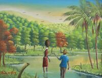 Signed & Original Rony Millien Lovers in the Countryside Haitian Art Painting