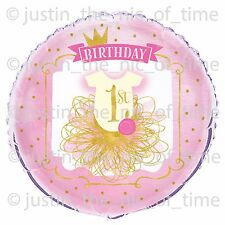 "1st First Birthday Girl Pink & Gold Party Decorations Large 18"" FOIL BALLOON"