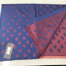 Alexander Mcqueen Scarf All Over Skull In Wool - Blue / Red