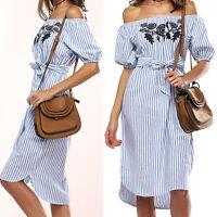 Summer Women Ladies Short Sleeve Off shoulder Cocktail Striped Beach Party Dress