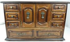 Vintage Ornate Wooden Jewelry Box Armoire-Style 4-Level w/ Second Inset 3-Level