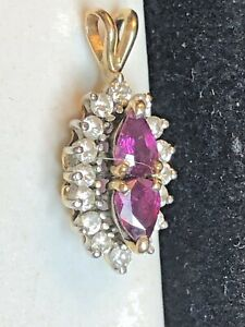 VINTAGE ESTATE 14K GOLD NATURAL RED RUBY & DIAMOND PENDANT NAVETTE  DOUBLE PEAR