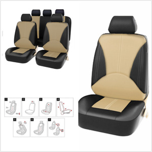 9Pcs Car Front Rear Seat Protect Cover PU Leather Black/Beige Wear Resistant