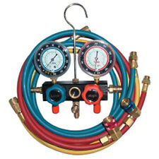 Mountain 8220 R134a Aluminum Block Manifold Gauge Set w/Hoses and Quick Couplers