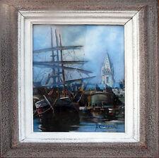 Tableau Marine XIX° signée H. Chopeler (?) pastel Port bateau mats