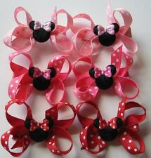 6 Minnie Mouse Clubhouse Girl Baby Boutique Bow Hair Clip RED HOT PINK Disney