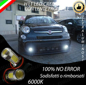 COPPIA LAMPADE FENDINEBBIA H11 LED CREE COB CANBUS PER FIAT  500 L 500L 6000K