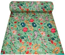 Floral Print Indian Handmade Kantha Quilt Bedspread Bedding Blanket Throw Cotton