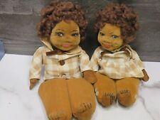 2 -1920s Antique Norah Wellings Black American Cloth Dolls Glass Eyes Sisters