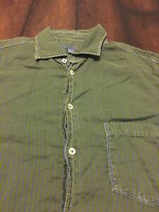 Martin Gordon Casual XL Green Blue Cotton Button Up Shirt Striped Long Sleeves