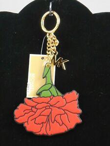 Michael Kors BARCELONA Scarlet CARNATION FLOWER Vegan Faux Leather Key Fob $78