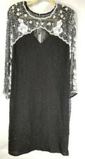 Laurence Kazar 1X Black Silk Beaded Sequin Dress White Floral Long Sleeve Party