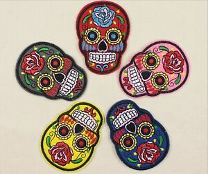 5pcs Iron/Sew On SUGAR SKULL/DAY OF THE DEAD Motif Embroidery Patch Applique