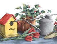 Wallpaper Border Watercolor Birdhouse Watering Can Floral Geranium