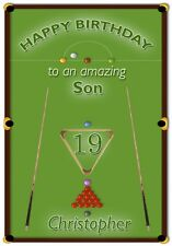 Personalised Snooker Theme Birthday Card - Personalised - Awesome !
