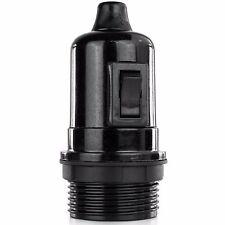 Bakelit Fassung mit Teilgewinde und Schalter, Lampenfassung E27, mit Klemmnippel