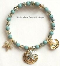 Gold Pearl Sea Life Bracelet Aqua Shell Starfish Island Beach Plus Size Stretch