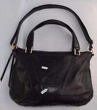 HOBO INTERNATIONAL Large Black Shiny Leather Zip Top Shoulder Bag Purse Womens
