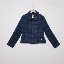 Roxy Womens Size 12 Grey Check Plaid Pea Coat Jacket