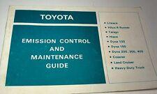 1987 TOYOTA Emission Control Handbook - Landcruiser Coaster Hilux Hiace Dyna etc