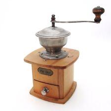 Vintage PeDe Dienes Hand Crank Coffee Mill Wood Stahl-Werk Drawer Grinder German