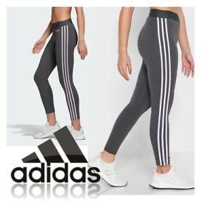 adidas Womens 3S Leggings Gym Yoga Pants Fitness Tights Ladies Sports Grey NEW