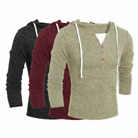 Men Fashion Casual V Neck Long Sleeve Solid Slim Knitting Male Hooded Sweater ZJ