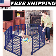 Toddleroo by North States 6 Panel Classic Play Yard For Kids Baby Gates Blue