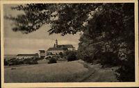 Neresheim Postkarte Stempel s/w AK 1930 gelaufen Blick auf die Abtei von Süden