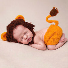 New Baby Knitted Costume Little Lion Photography Props Outfits Hat + Shorts Set