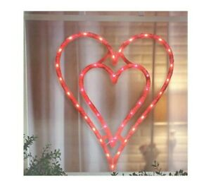 Valentine's Day Lighted Double Heart Window Silhouette Decoration - 1 Piece