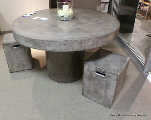 """48"""" Round dining table solid concrete cement modern sealed indoor outdoor"""