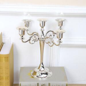 Silver Wedding Metal Vintage Candelabra Candlestick Dinner Candle Holders Stand