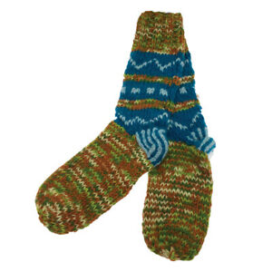 Hand Knitted Woollen Lounge Bed Winter Socks 100% Wool - Khaki, Brown and Blue