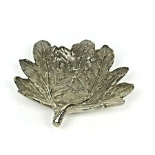 Tozai Home Handcrafted Chrysanthemum Maple Leaf Metal Footed Dish / Tray