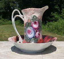 Red & Pink Vintage Floral Porcelain Pitcher & Wash Basin Set