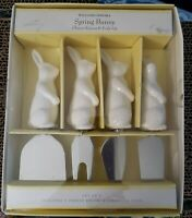 New Williams Sonoma Spring Bunny Cheese Knives & Fork Set White Rabbits