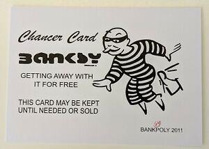 WHITE BANKSY Chancer Card - Banksypoly 2011 - Graffiti Art / Street Art