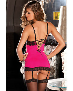 RENE ROFE HOLLYWOOD CHEMISE GARTER DRESS & G-STRING Hot Pink Sizes SM New