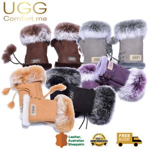 UGG Fingerless Gloves, Leather Suede, Wool Lining, Auzland, Women