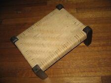 """Vtg Antique Mission Wood Arts Crafts Oak Footstool Stickley Style Stool """"Burns"""""""