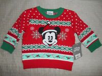MICKEY MOUSE HOLIDAY CHRISTMAS SWEATER DISNEY STORE SIZE 6-9 MONTHS NWT NEW!