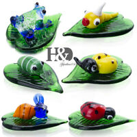 6pcs Hand Blown Miniature Insect Art Glass Craft Animal Figurine Collection Gift