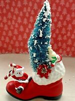 Vintage Mid Century Christmas Tree Santa Claus Frosty Boot Assemblage Decoration