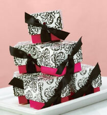 New Hbh Fuchsia and White with Black Filigree Favor Boxes 25 pc.