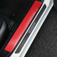 4x Black Carbon Fiber Car Scuff Door Sill Plate Cover Panel Step Guard Protector