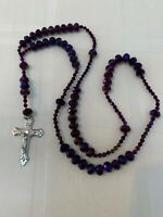 Rosary Aurora Borealis Purple Jesus Virgin Mary Religious Crucifix Vintage