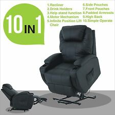 electric real leather recliner armchair lift chair wall hugger lounge seat black - Black Leather Recliner Chair
