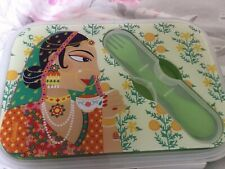Pretty Indian Lady Lunch Box With Fork/ Spoon