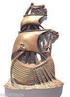 Vintage 1960's LARGE Brass Viking Sailing Pirate Ship Boat Figurine / Statue